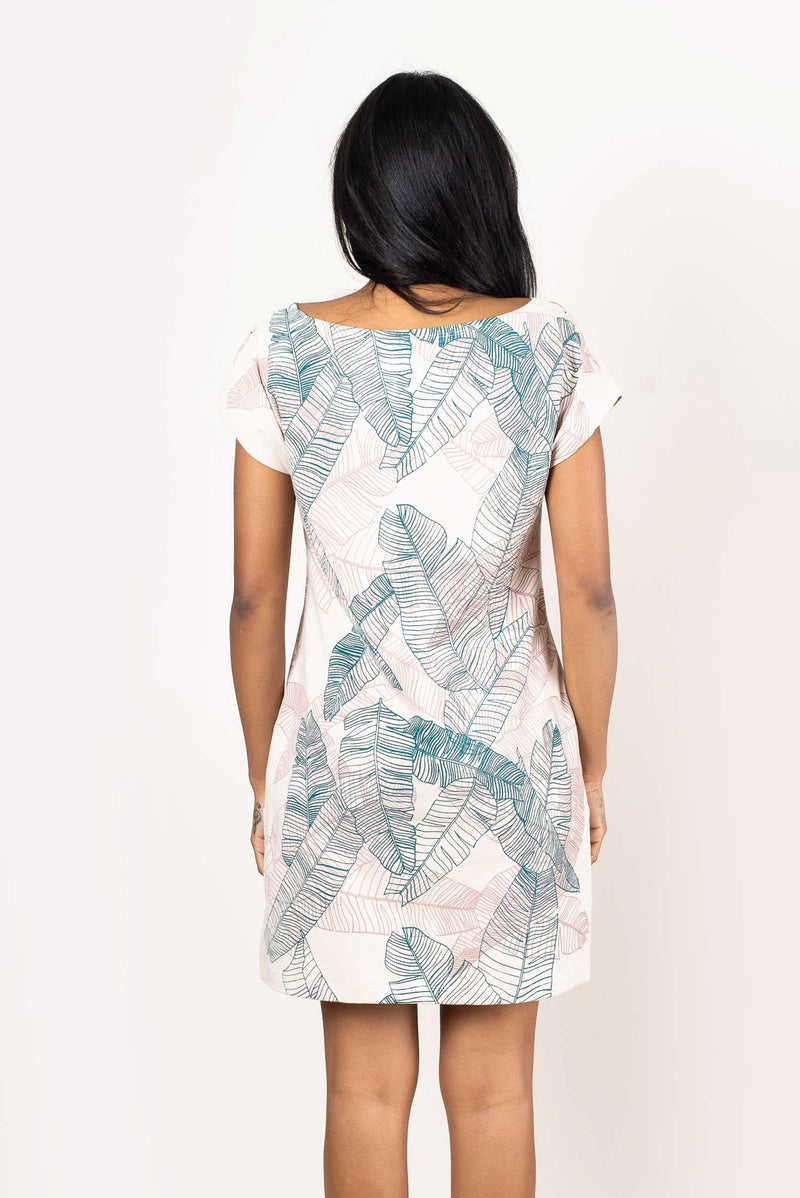 A back view of our ethically-made t-shirt dress showing the allover banana palm print.