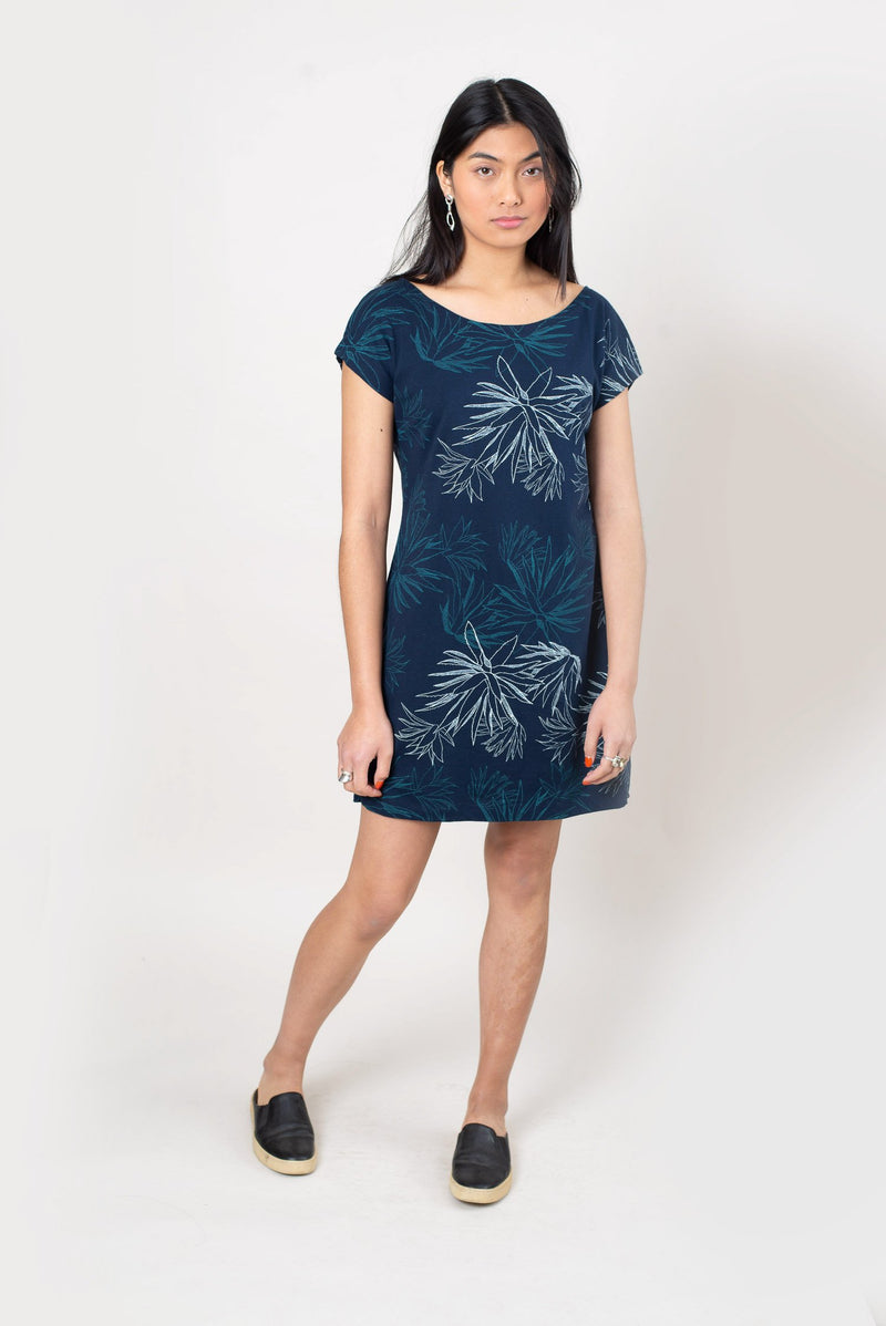 Seen here in navy with a cactus print, our ethically made t-shirt dress can be styled casually or accessorized for a night out.