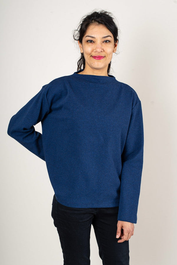 A front view of the Chloe sweatshirt made from reclaimed jersey as part of our unique zero waste process.