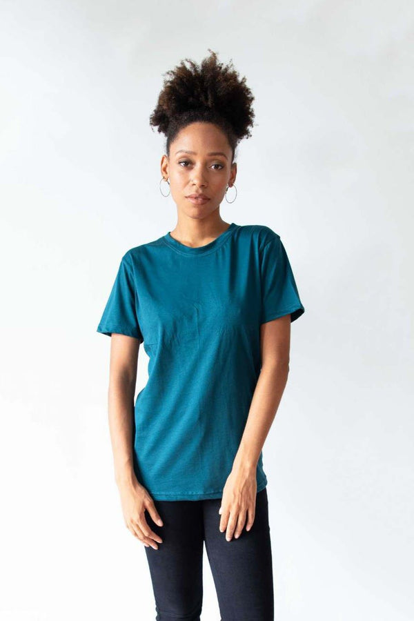Our sustainably made classic t-shirt has a crew neck and short sleeves. Shown here in teal.