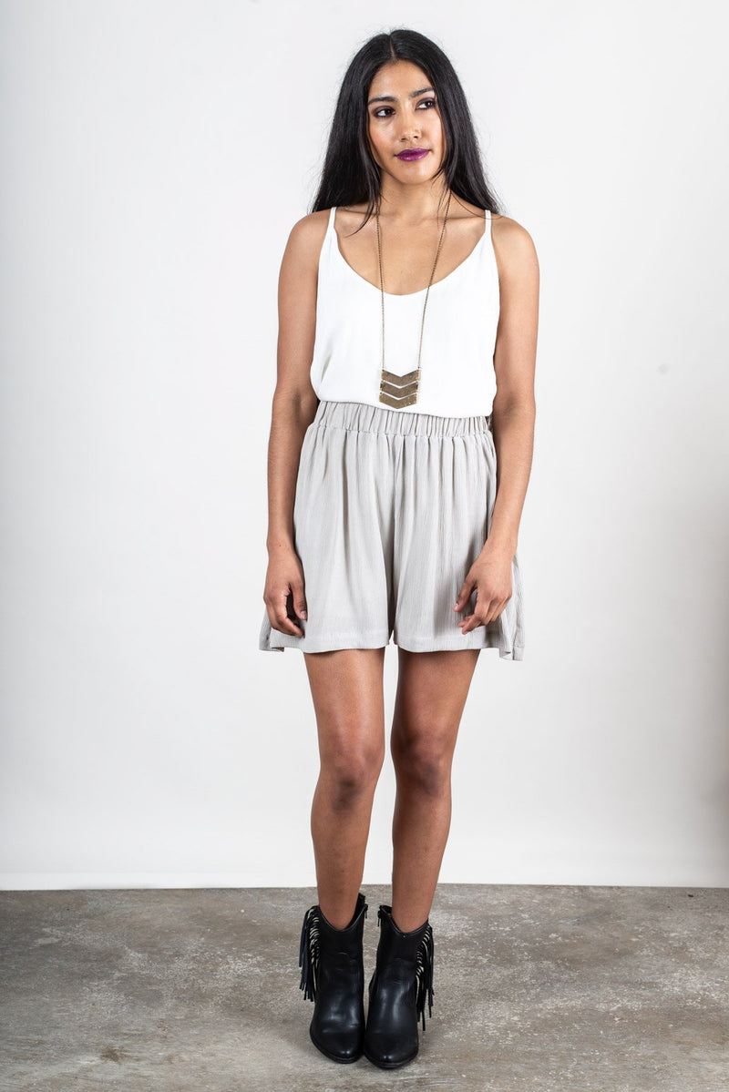 These culotte shorts in grey crepe are made from reclaimed textiles as part of our unique zero waste process.