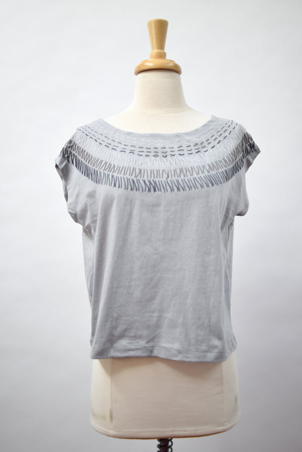 grey keang top with sunburst embroidery - open closet - x-small - rarely worn