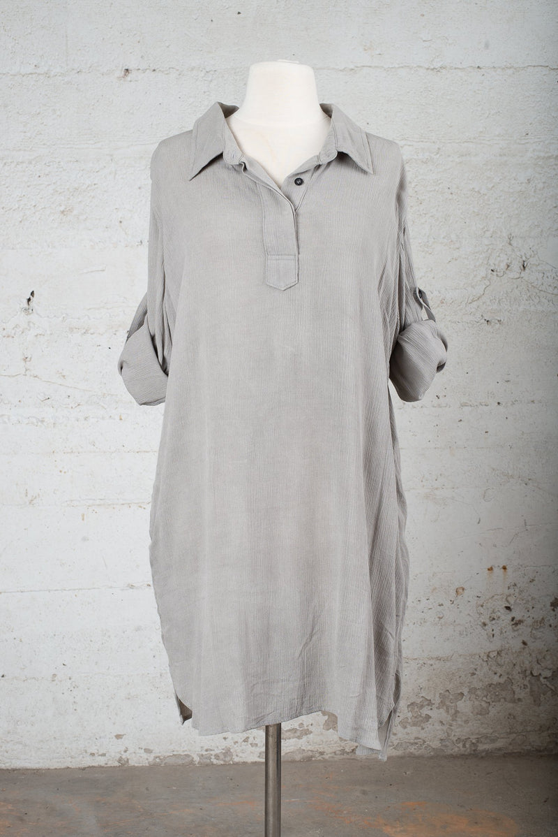 Front view of a circular fashion resale garment, made from reclaimed textiles in our zero waste process.