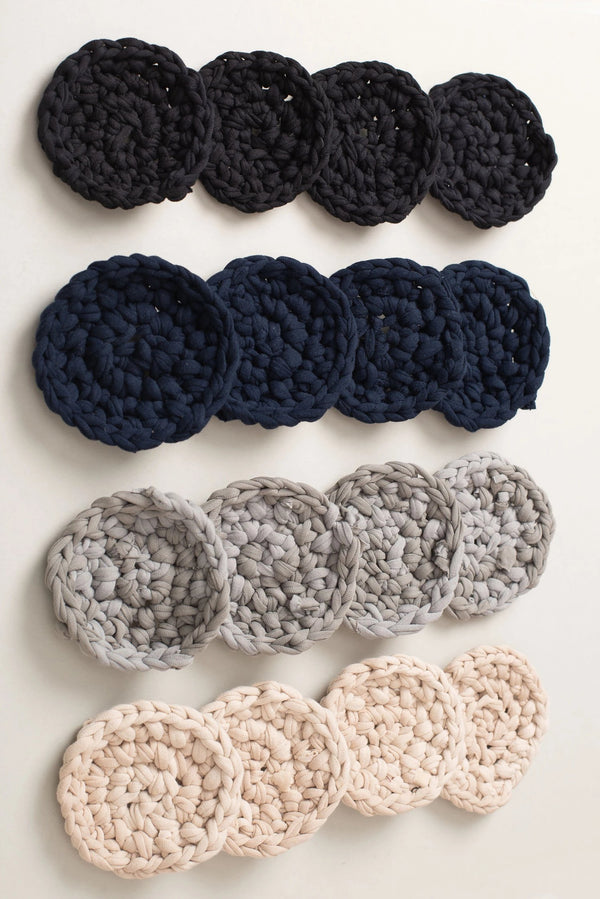 Set of 4 crocheted coasters made from reclaimed jersey for your zero waste home.