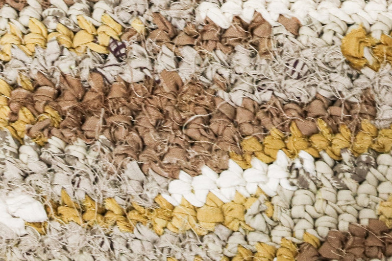 A detail of the crocheted textile in mustard and neutrals. The texture of the fair fashion purse can be seen.
