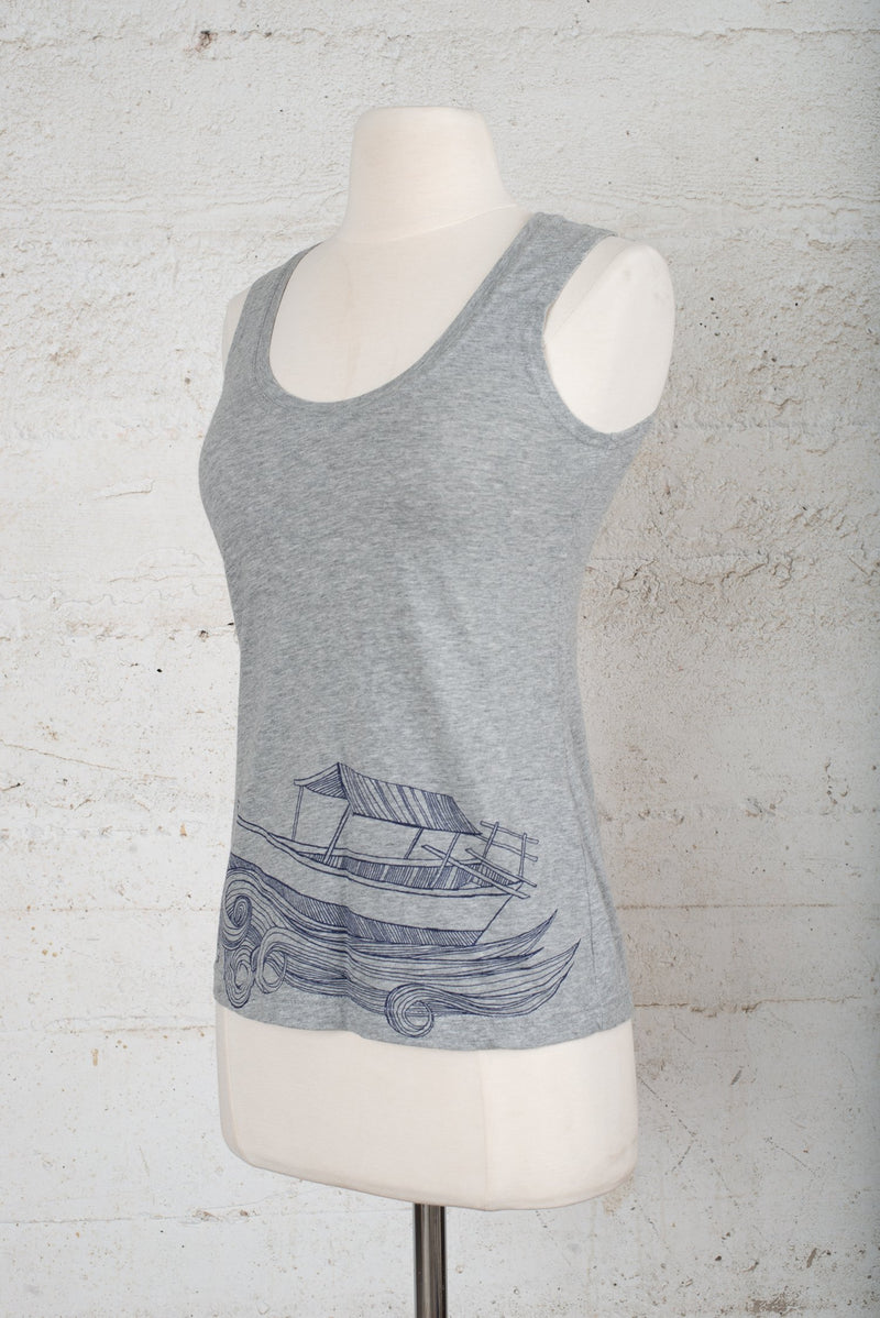 A side angle view of a tank top on our secondhand, sustainable fashion site.