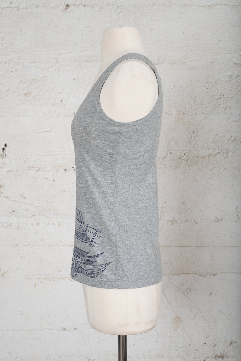 A side detail view of an ethically made tank top for sale secondhand on our circular fashion platform.