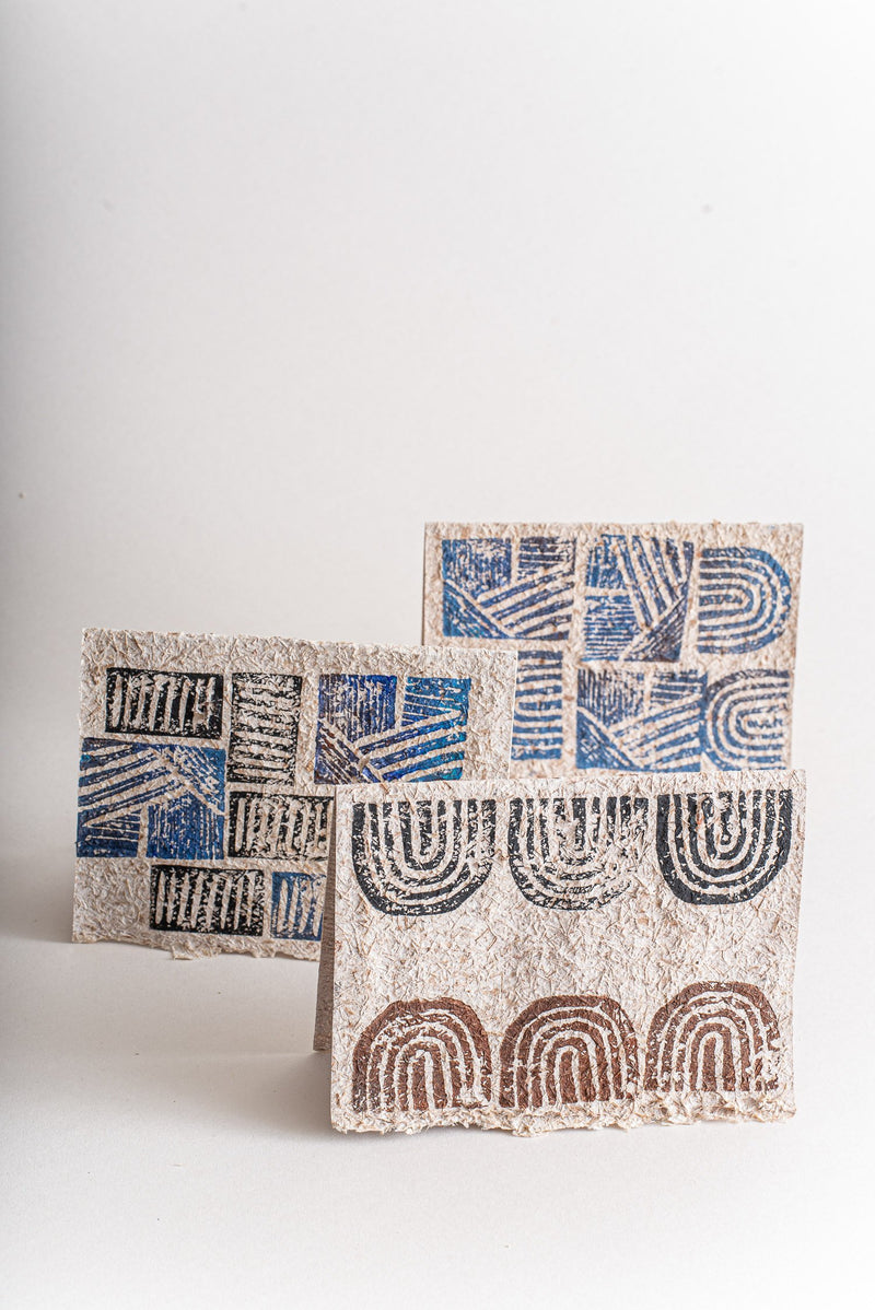 The geometric print on these recycled paper cards is great for thank-you notes.