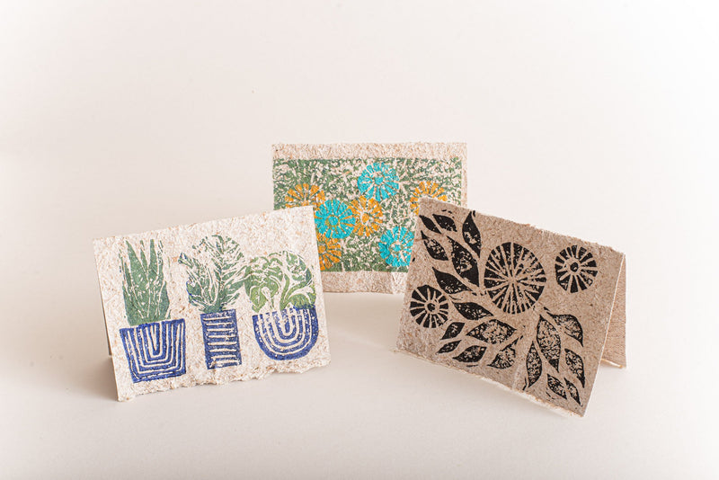 The botanical flower blossom and potted plant designs on these block-printed cards make ideal birthday greetings.
