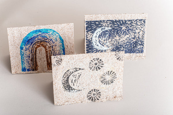 The celestial pattern block-printed on these recycled paper cards make them perfect for holiday greetings.