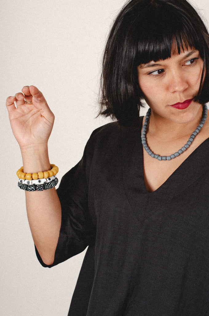 recycled glass modern times bracelet - mustard - set of 3