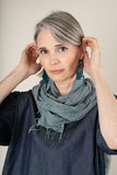hand-woven naturally dyed cotton gauze scarf - chambray