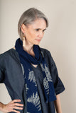 printed cotton jersey scarf - navy with fern print