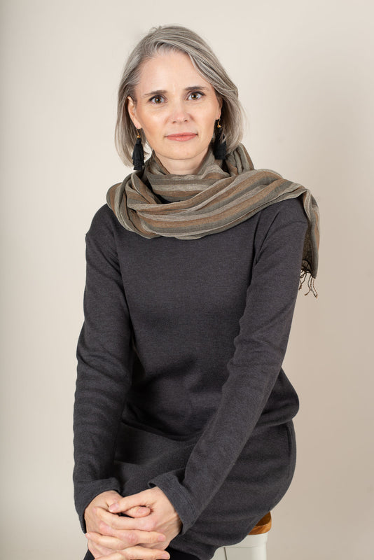 hand-woven naturally dyed cotton gauze scarf - pebble stripe