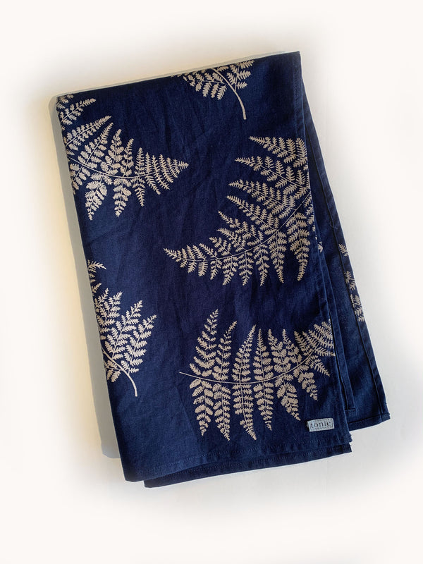 tea towel - navy with taupe fern print