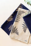 tea towel - natural with navy fern print