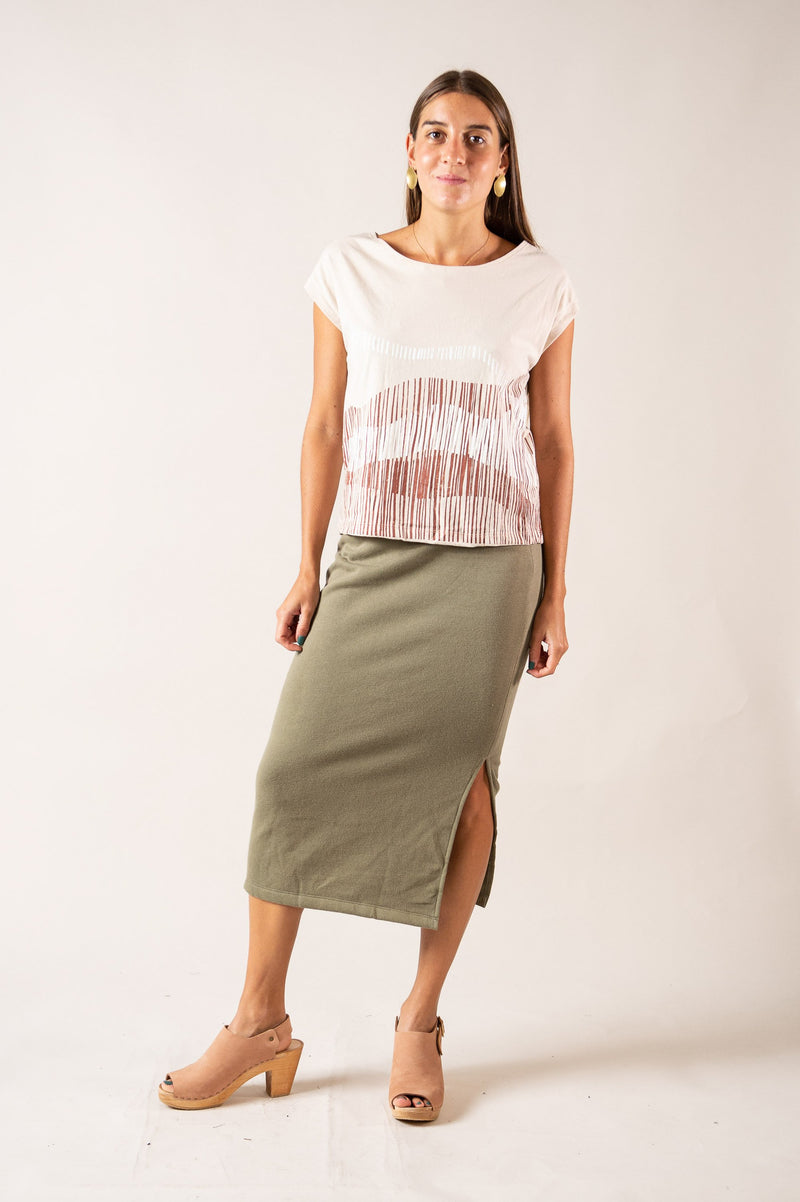 The circular fashion Jorani skirt can be styled casually, as seen here, or pared with heels and an elegant top for an evening look.