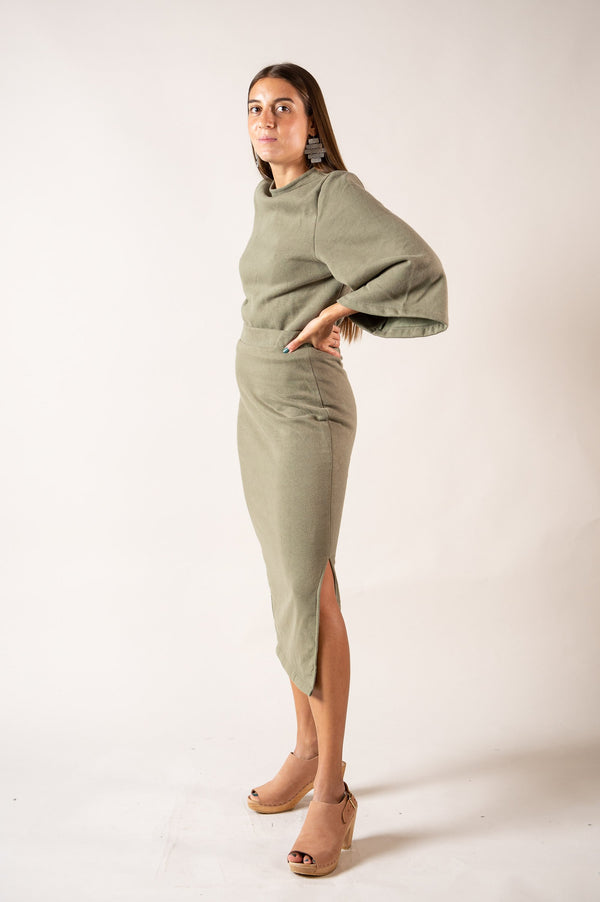 The Jorani skirt is made from reclaimed sweatshirt fabric in our zero waste process.