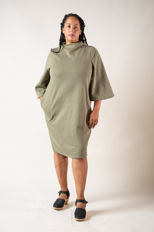 The Jorani sweatshirt dress is made from reclaimed sweater fleece in our zero waste process.
