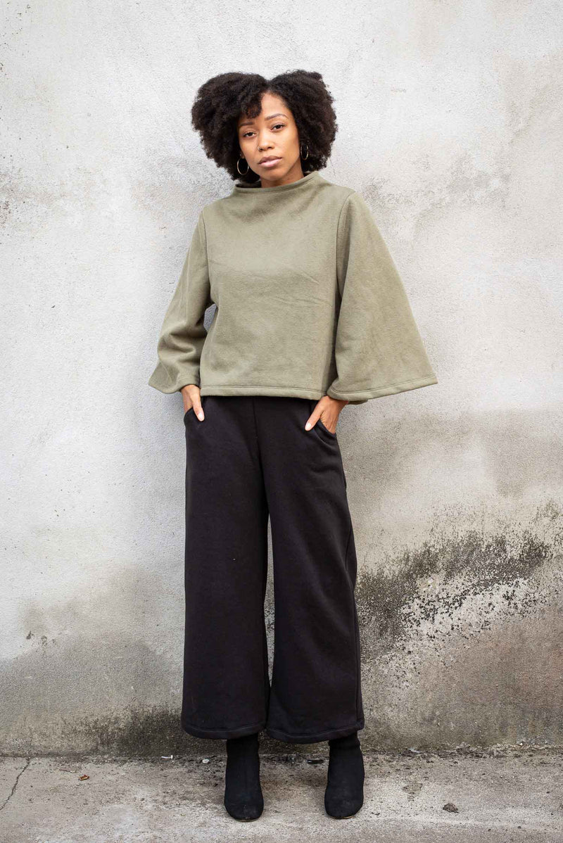Our Jorani sweatshirt is made from reclaimed textiles in our zero waste process. Seen here paired with our Jorani pants for a full-on cozy chic look.