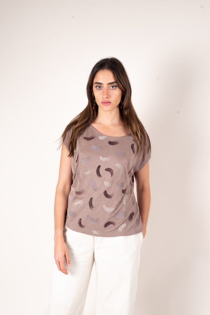 A front look at our ethically made taupe colored boxy scoop neck t-shirt. This is one of our best selling zero waste fashion pieces.
