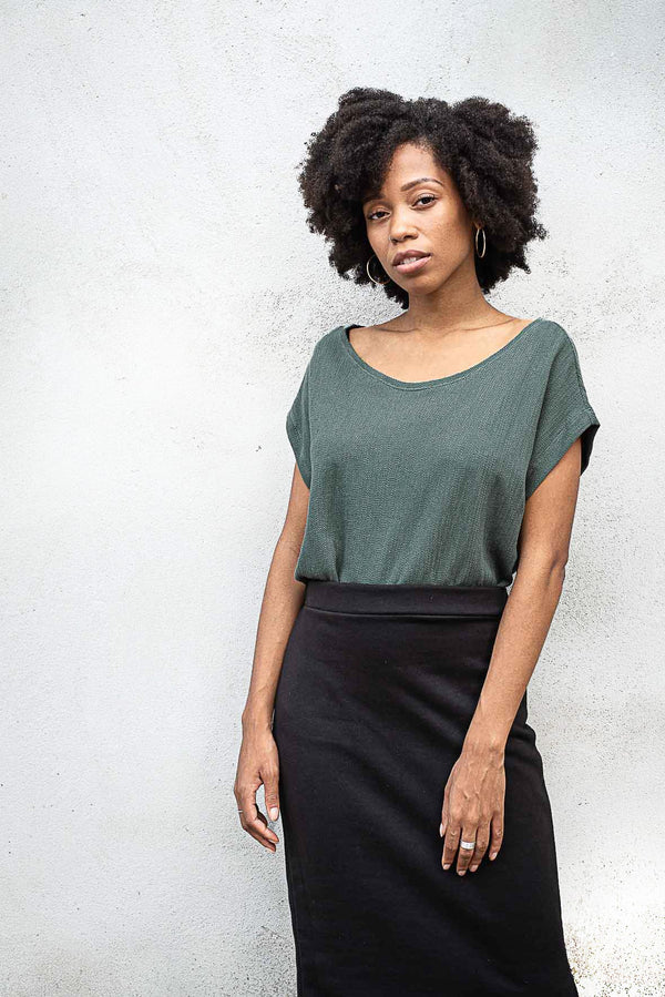 This version of our Keang top, in sage, is a must for any minimalist capsule wardrobe. Sustainably made from reclaimed textiles in our zero waste process.