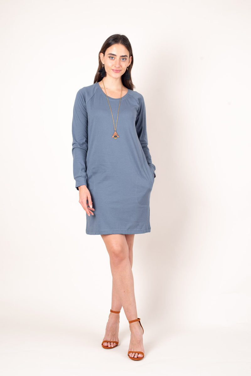 A front few of the zero waste khema dress made from reclaimed dusty blue jersey.