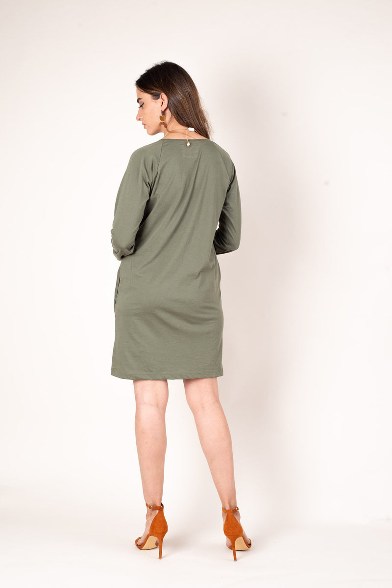 A back view of the moss fair fashion favorite, our khema dress made from reclaimed jersey as part of our zero waste process.