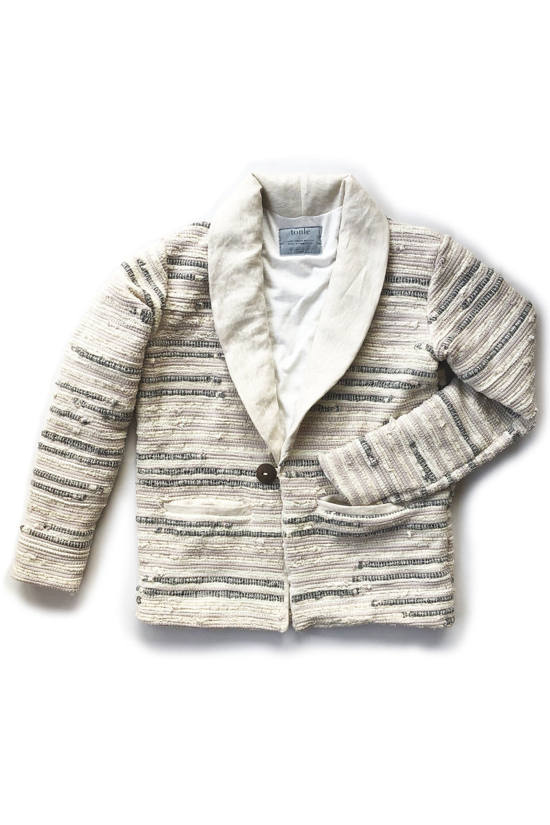 kiri jacket neutral and grey stripes - open closet - small - rarely worn