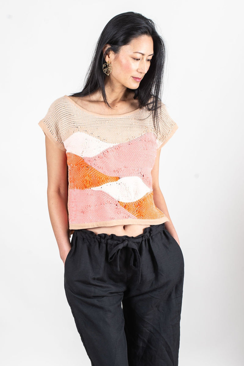 Our ethically made, handwoven landscape crop top in mesa.
