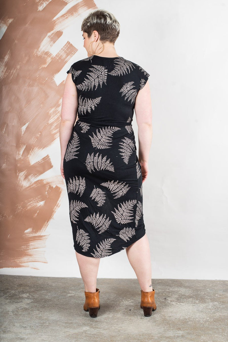 lotus dress with fern print