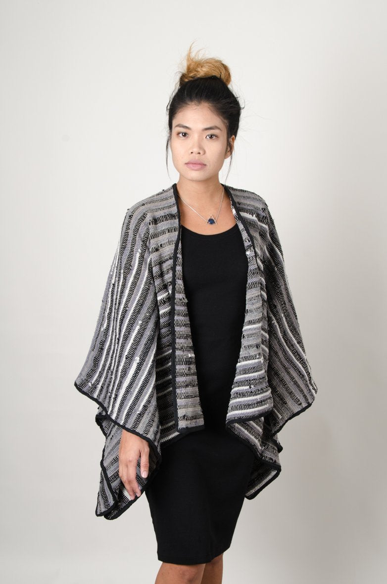 eco-friendly handwoven black and grey jacket made from recycled materials