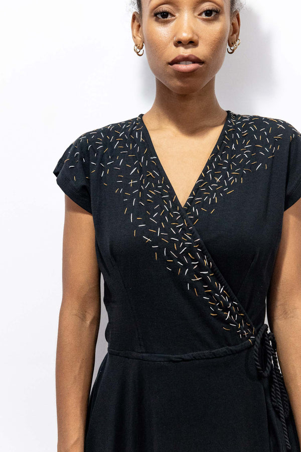 black mekong wrap dress with confetti embroidery - open closet - x-small - rarely worn