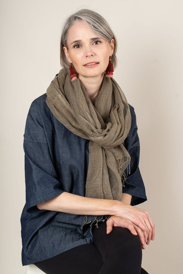 handwoven naturally dyed cotton gauze scarf