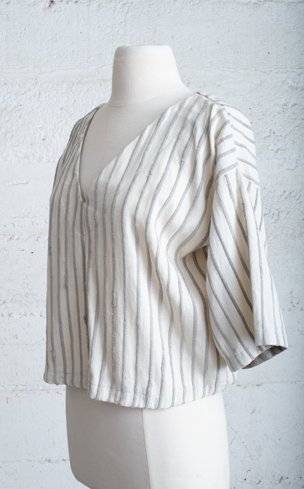 grey and white handwoven veha top - open closet- small - rarely worn