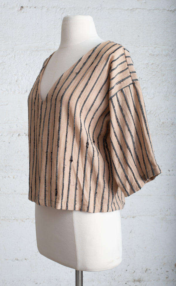 palm and black handwoven veha top - open closet- small - rarely worn