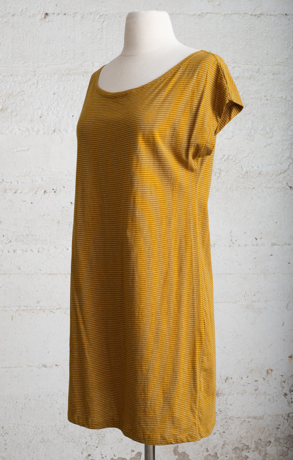 striped mustard basic t-shirt dress - open closet - small - rarely worn