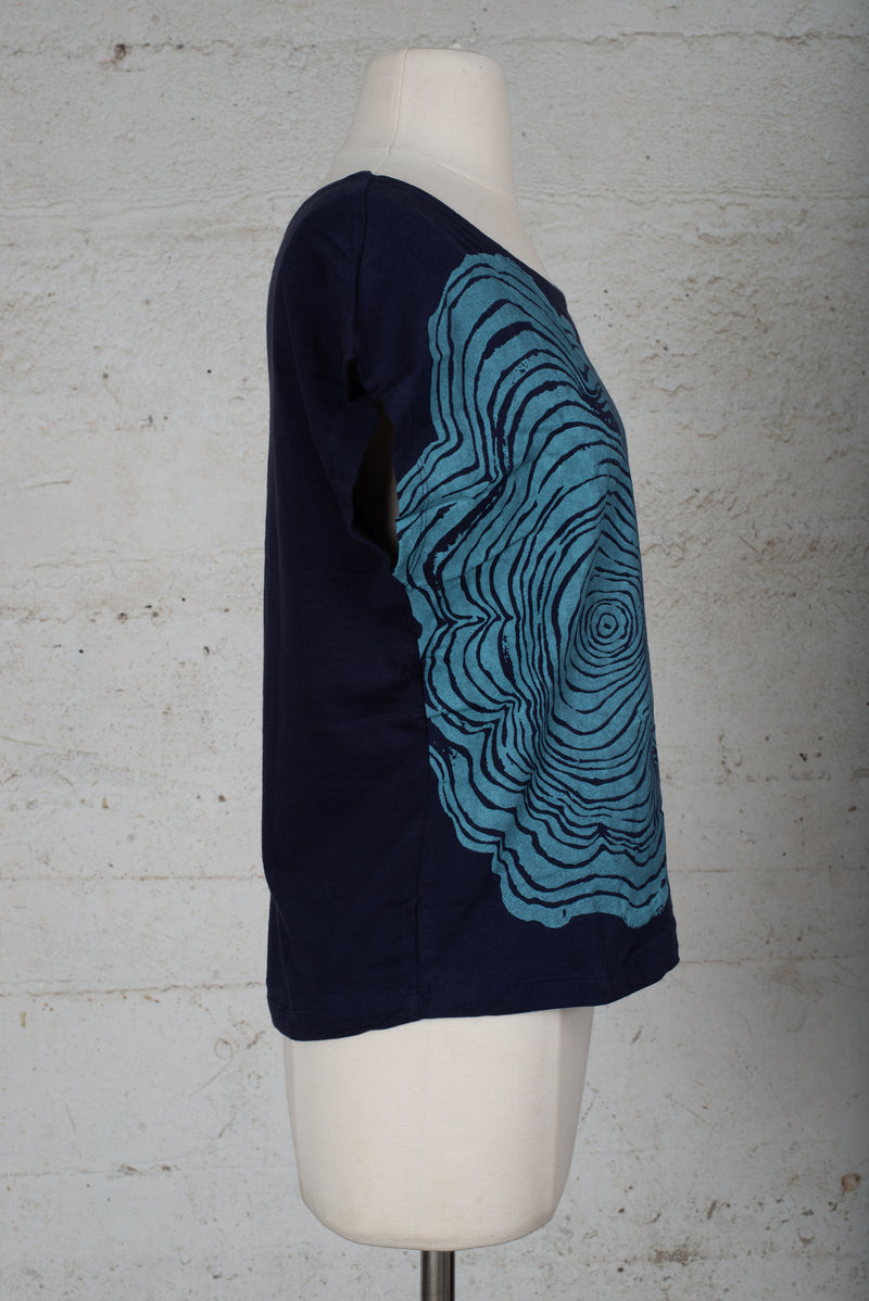 keang top with hand-printed tree rings - open closet - x-small - rarely worn