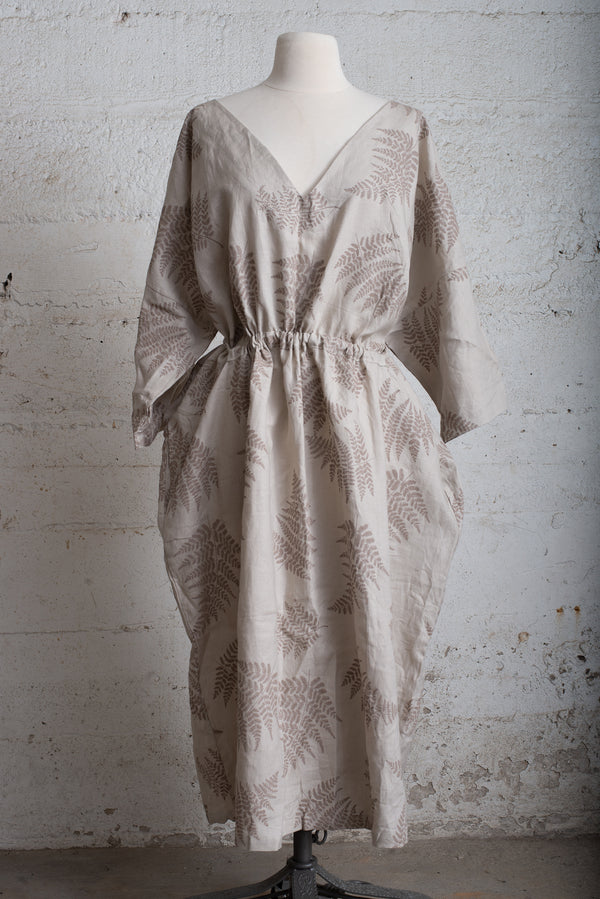 natural sothea dress with fern print - open closet - xx-large - rarely worn
