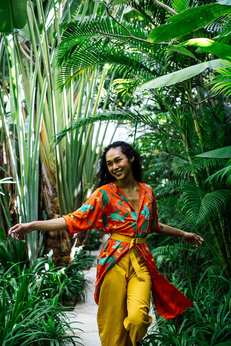 Our culottes can be paired with long layers. Seen here with our Torey tunic and ring belt for a head-to-toe Plant Kween look.