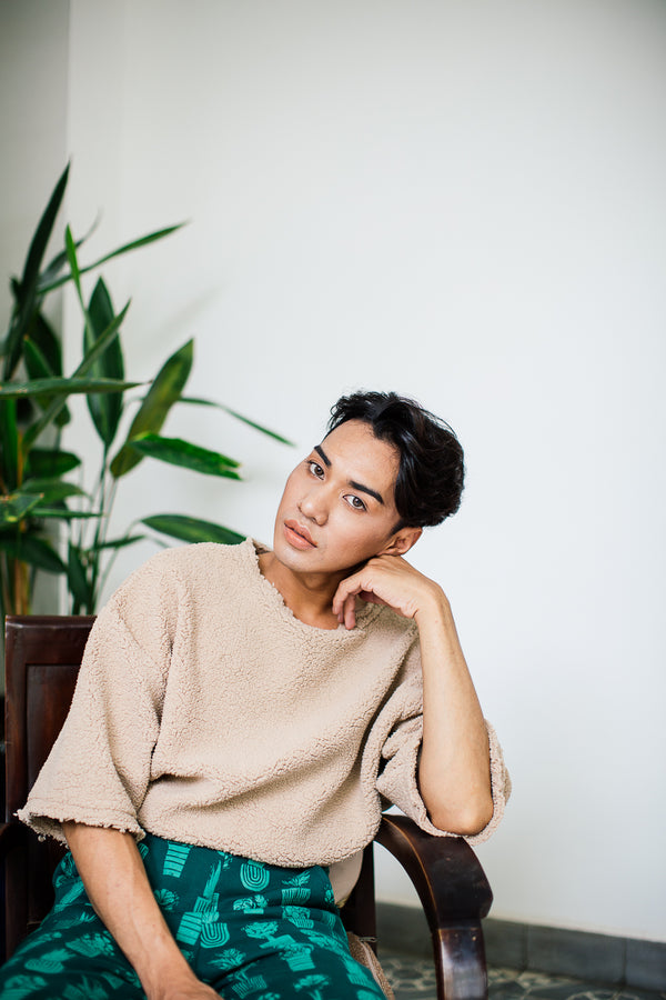 This gender-expansive sweatshirt is made from cuddly reclaimed sweater fleece in our zero waste process. Designed in collaboration with Plant Kween.