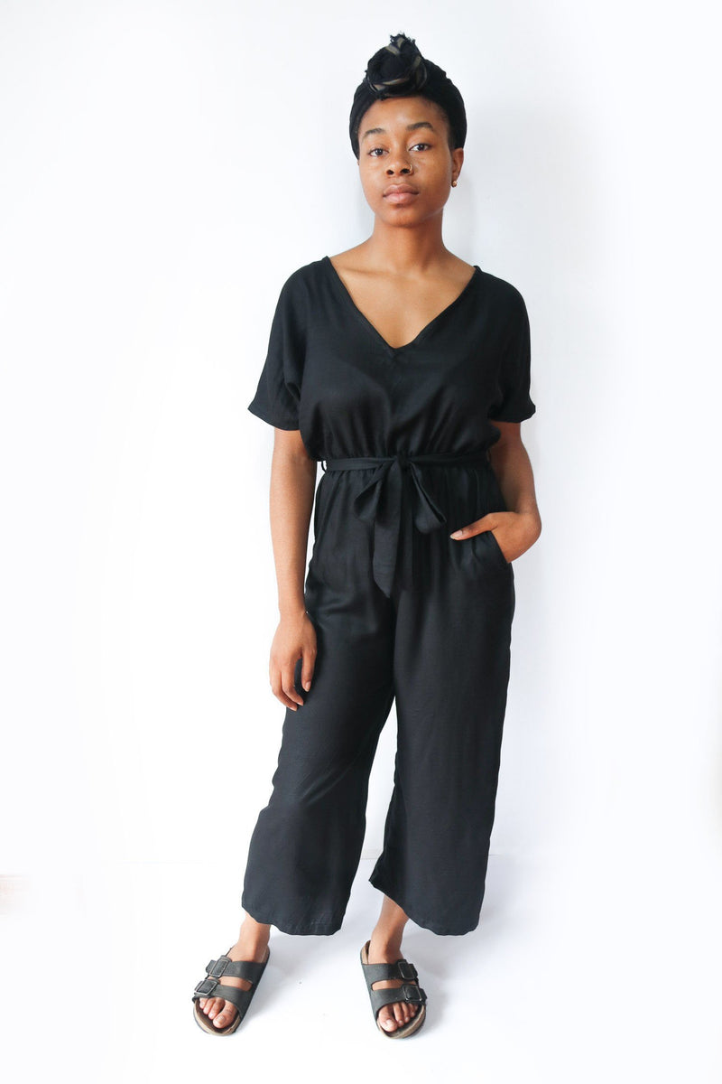 Our sustainably made Rachana jumpsuit, seen here in black rayon.