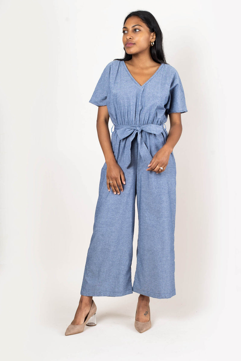 Our versatile Rachana jumpsuit, seen here in chambray, is an essential for your capsule wardrobe.
