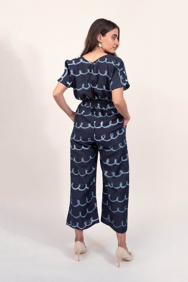 rachana jumpsuit with hand-painted whimsy print - open closet - xx-large - rarely worn