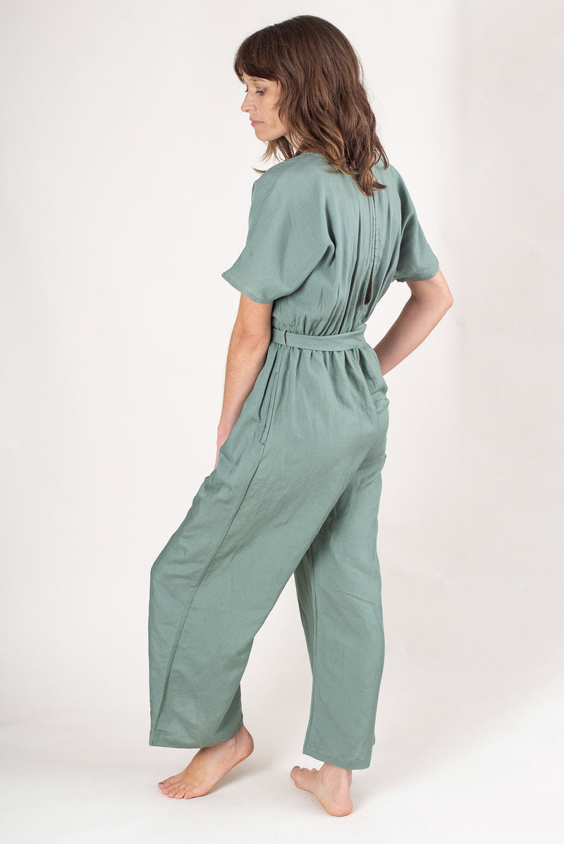 A side view of our ethically made Rachana jumpsuit.