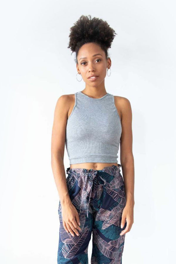 Our ethically made ribbed crop top in grey.