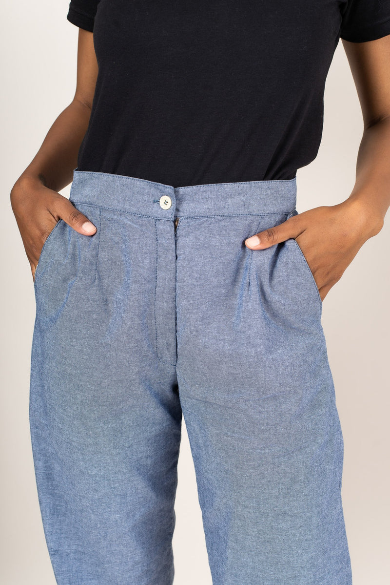 A detail shot of our classic RJ pants that shows the side pockets and waistband.