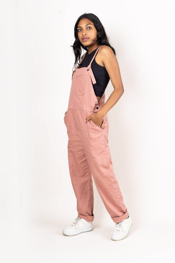 Our RJ overalls, seen here in blush, have generous pockets for all your essentials.