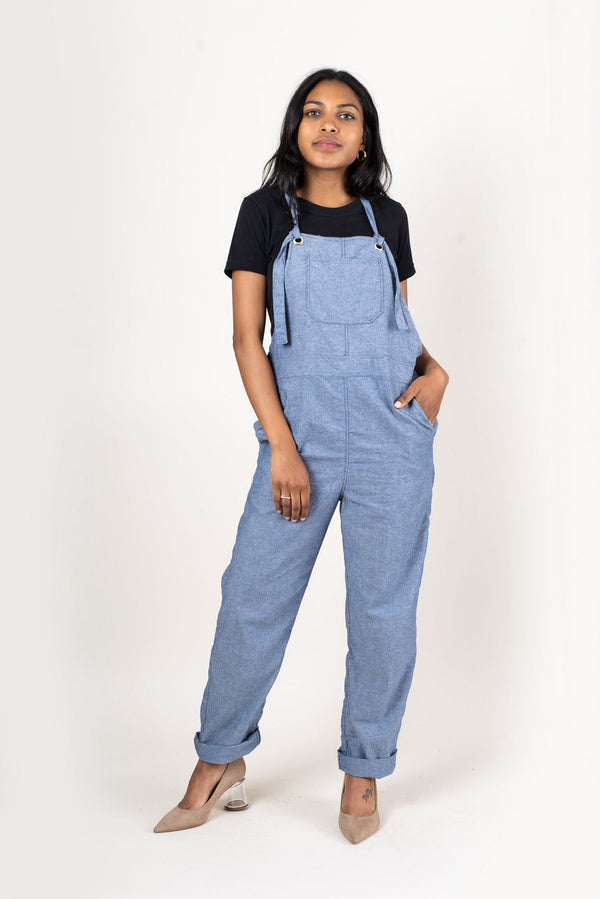 These RJ overalls are made from reclaimed textiles as part of our zero waste process. Seen here in chambray.