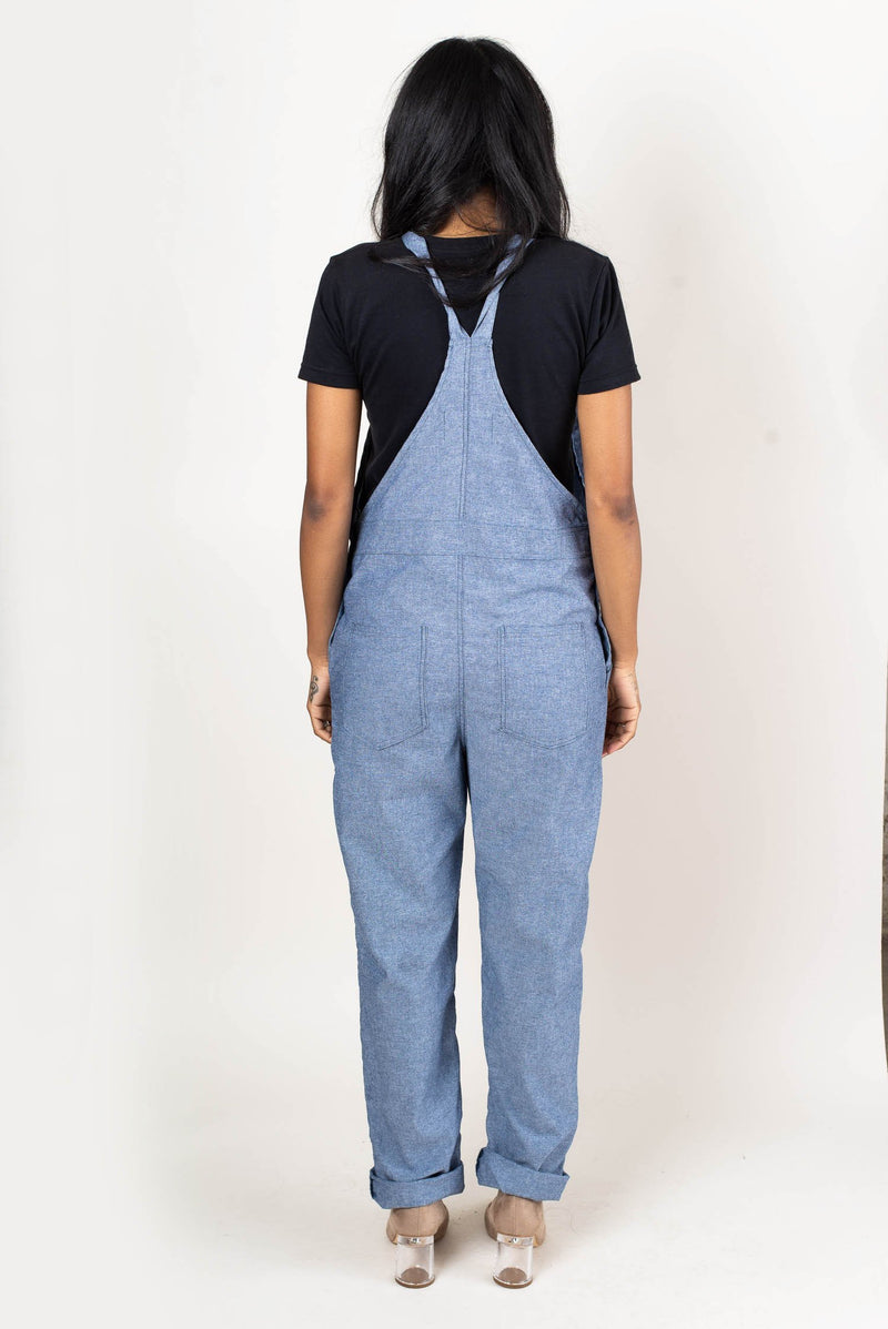 A back view of our fair fashion overalls that shows the cut of the garment and two back pcokets.